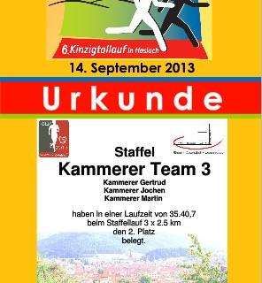 Urkunde des Kinzigtallauf 2013 zum 3. Platz im Staffellauf der Firmen